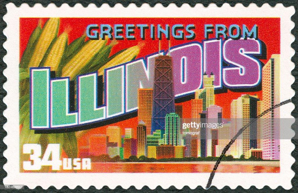 A touristic postal stamp of Illinois : Stock Photo
