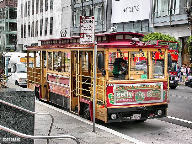 touristic tram in san francisco - pjphoto69 stock pictures, royalty-free photos & images