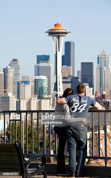 Tourists Admiring Seattle Skyline