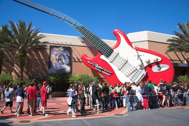 Tourists, Aerosmith Rock N Roller Coaster ride, Sunset Boulevard, Disney MGM Studios, Disney World, Orlando, Florida, USA