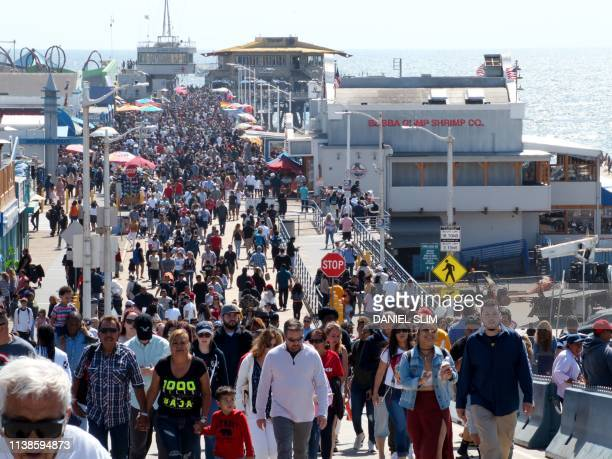 Tourists and Angelenos are swarming the Santa Monica Pier on Easter sunday in Santa Monica California on April 21 2019