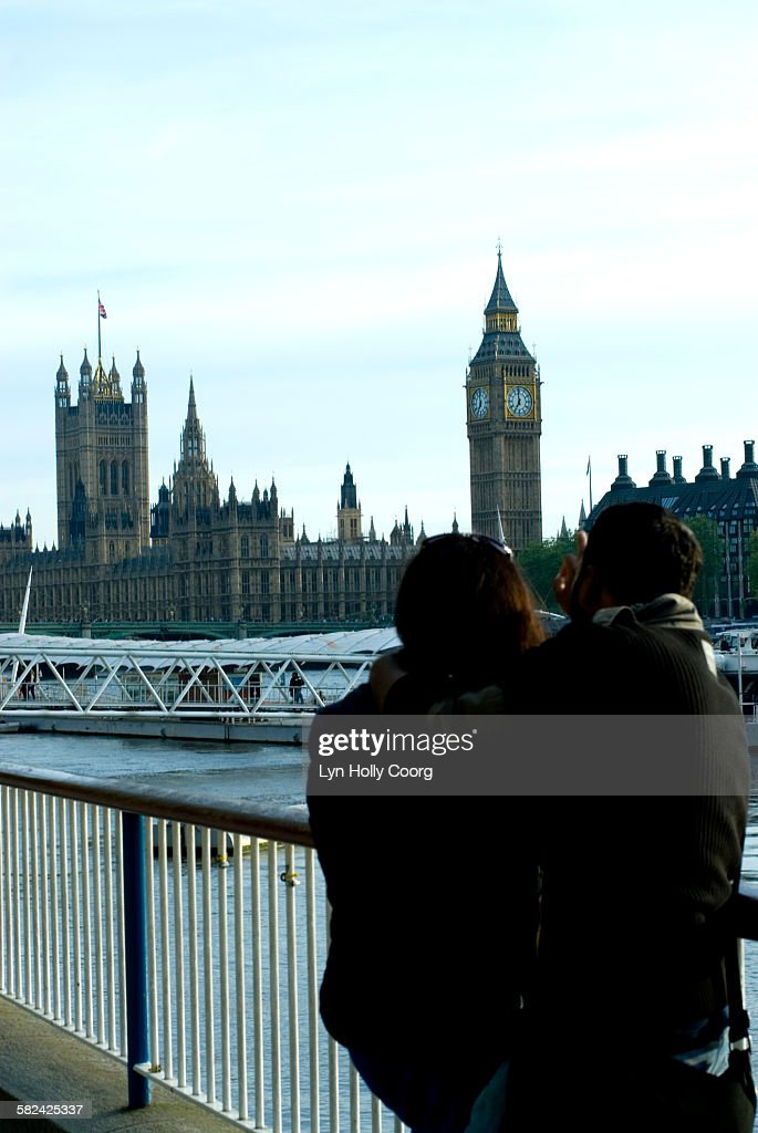 Tourists and Big Ben, Houses of Parliament : Stock Photo