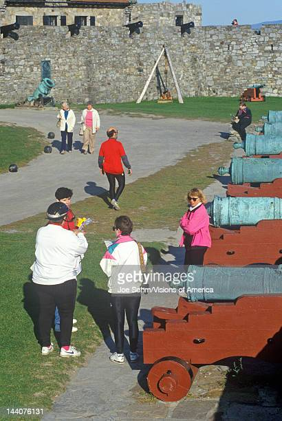 Tourists and cannons inside Fort Ticonderoga Lake Champlain New York