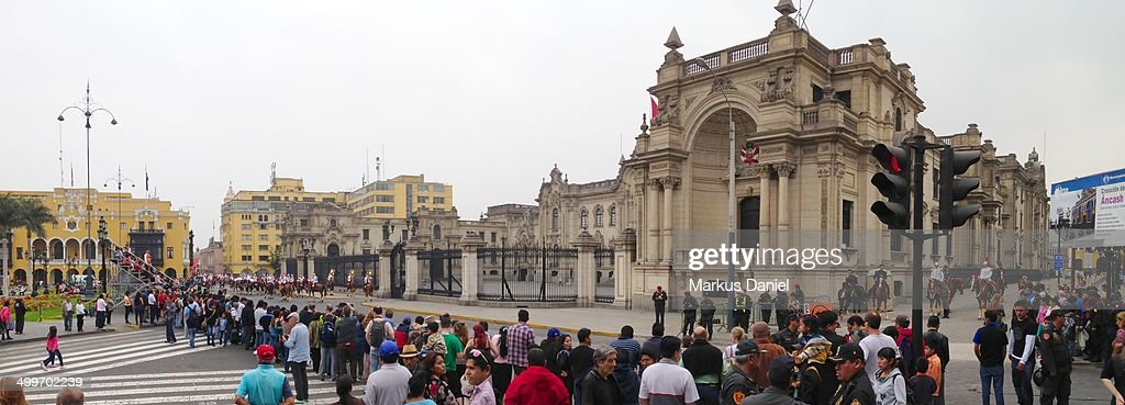 Panorama view of Plaza de Armas in Lima, Peru on a : News Photo
