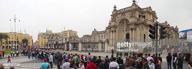 CONTENT] Tourists and locals are watching the daily changing of the guards at the Palacio de gobierno on the grand stands on a very typical overcast...