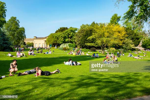 tourists and locals relaxing in one of the parks in york, england - york yorkshire stock pictures, royalty-free photos & images