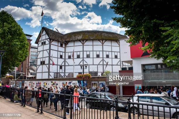 Tourists and locals walking beside Shakespeare's Globe theatre in London, England.