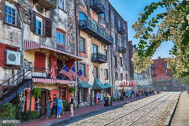 Tourists and shops along the Riverfront,Savannah