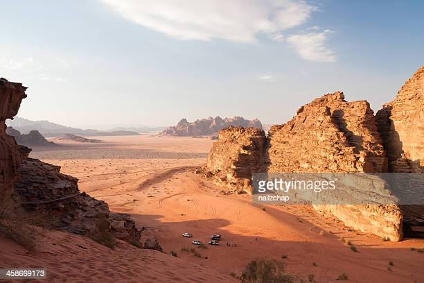 Tourists and the Wadi Rum desert in Jordan