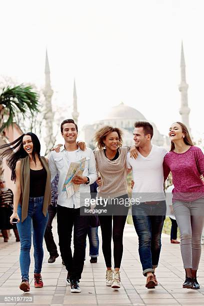 Tourists and their turkish friends in Sultanahmet