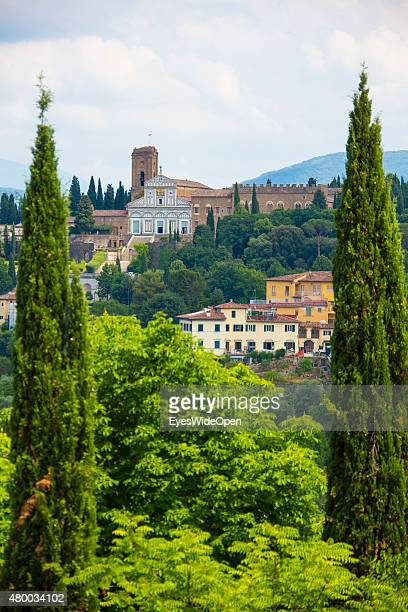 Tourists and traveler visit the sightseeing point Fort Belvedere with a panoramic view on Abbazia di San Miniato al Monte on June 16, 2015 in...