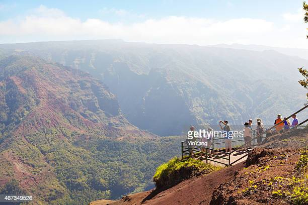tourists and vacationers enjoying waimea canyon of kaual hawaii, usa - waimea canyon stock pictures, royalty-free photos & images