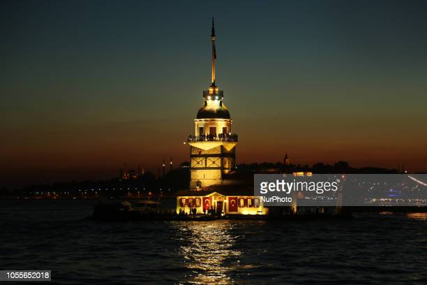 Tourists are nearby Virgo on near the Bosphorus Strait in front of Turkey on October 30 2018