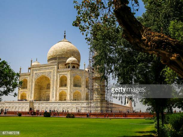 Tourists are seen as renovation process continue at Taj Mahal one of the wonders of the world in Agra India on April 29 2017 Restoration work goes on...