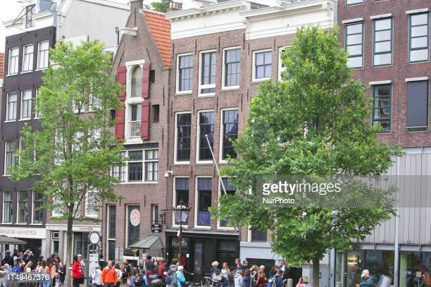 Tourists are seen in front of the Anne Frank house remembering Anne Frank's 90th Birthday on June 12 2019 in AmsterdamNetherlands Today it is exactly...