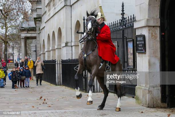 Tourists are seen standing behind a member of the Household Cavalry who was trying to control a horse at Whitehall that happens to be unsettled