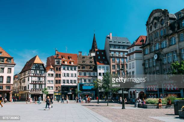 tourists are sightseeing place kleber strasbourg france - strasbourg stock pictures, royalty-free photos & images
