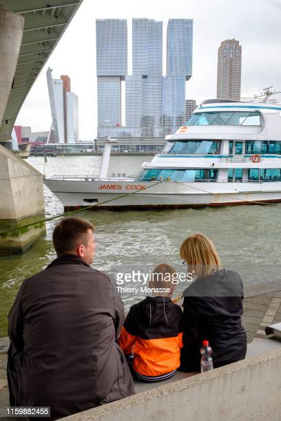 Tourists are waiting for a Rotterdam Sightseeing Tour on the Meuse River and the Rotterdam Harbour on August 2 2019 in Rotterdam Netherlands
