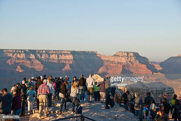 Crowds of Tourists Watch the Sunset from Mather Point