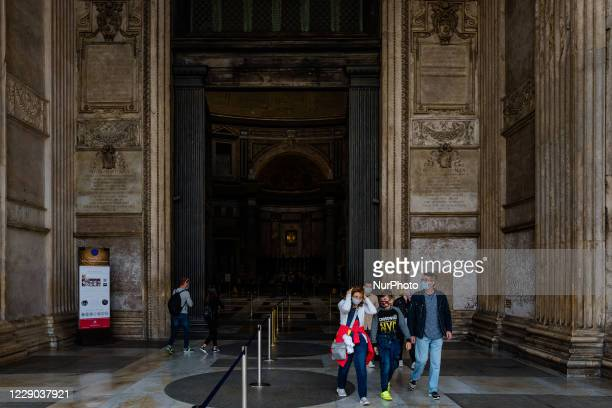Tourists as they exit the Pantheon in Piazza Rotonda in Rome on 12 October 2020 The data of the Covid19 positives in Rome grow to 158 in the 24 hours...