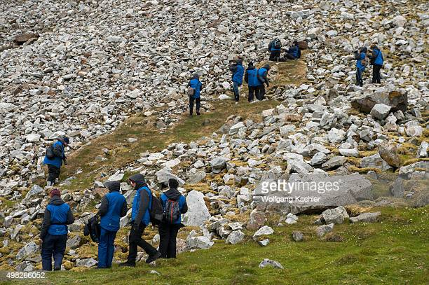 Tourists at a hillside where thousands of little auks or dovekies are nesting at Varsolbukta in Bellsund, which is a 20 km long sound and part of the...
