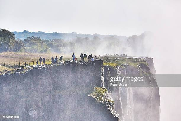 Tourists at a viewing point at Victoria Falls