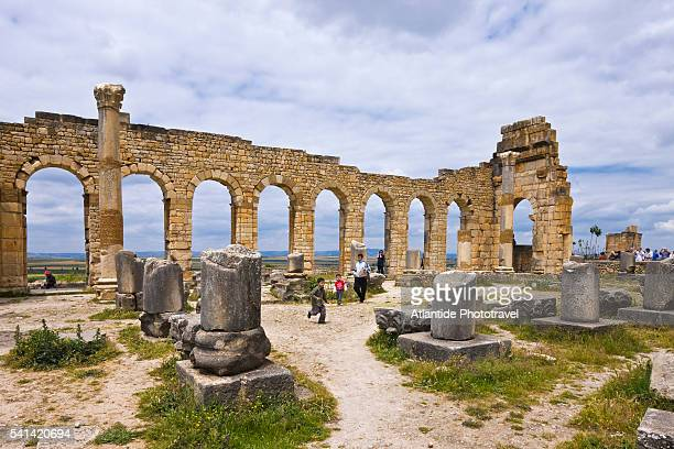 Tourists at Basilica of Volubilis