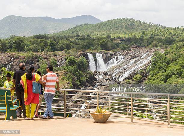 Tourists at Bharachukki waterfall, Karnataka, India