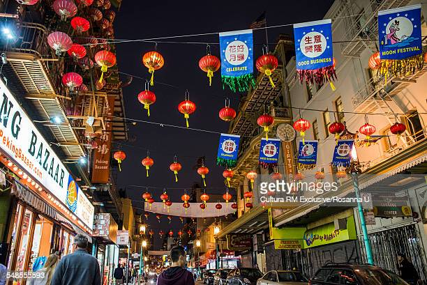 tourists at chinatowns mid autumn festival at night, san francisco, california, usa - san francisco chinatown stock photos and pictures