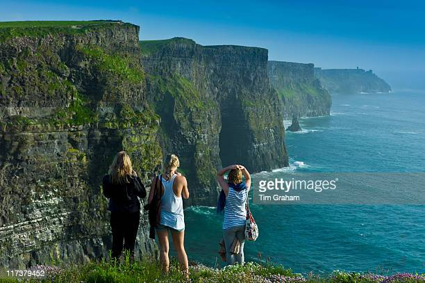 Tourists at Cliffs of Moher, West Coast of Ireland