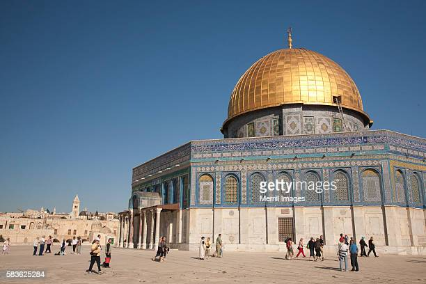tourists at Dome of the Rock, an Islamic shrine in Jerusalem, Israel