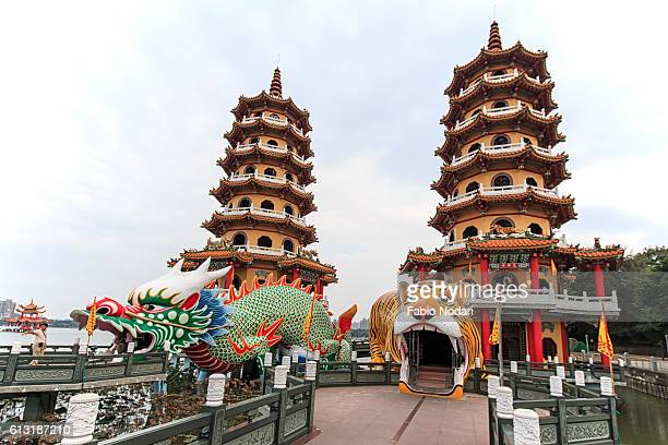 Tourists at dragon And Tiger Pagodas at Lotus Pond, Kaohsiung, Taiwan
