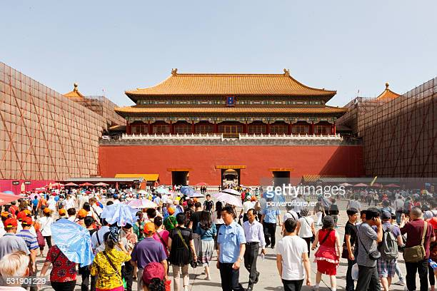 Tourists at Forbidden City in Beijing, China