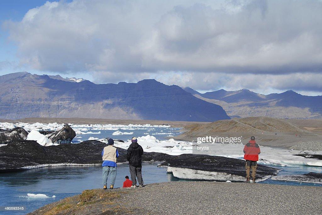 Tourists at Jokulsarlon Lagoon in Iceland : Stock Photo