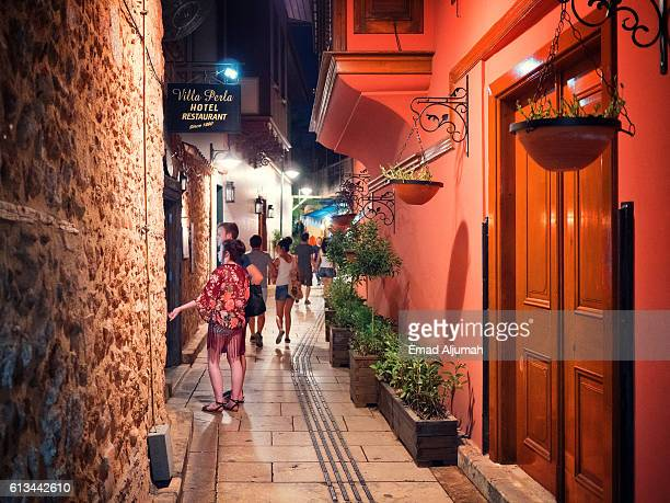 Tourists at Kaleici - Old Town of Antalya by night