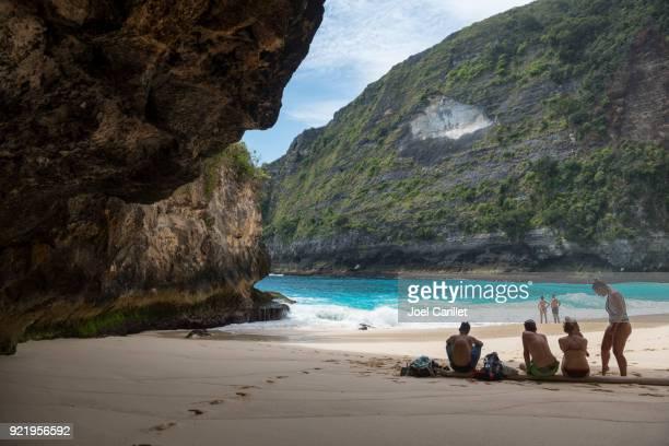 Tourists at Kelingking Beach, Nusa Penida, Bali