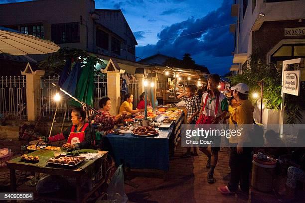 Tourists at night market in Luang Prabang Laos