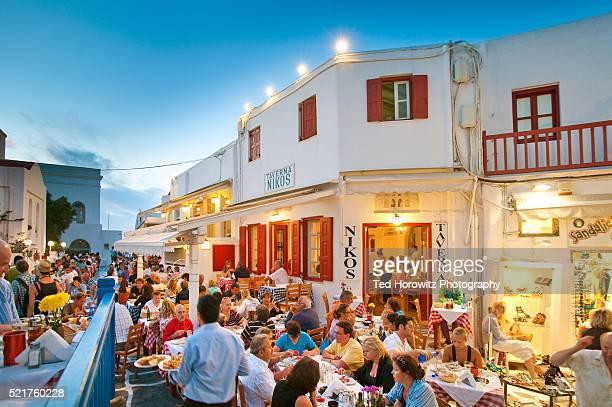 Tourists at Niko's Taverna on Mykonos