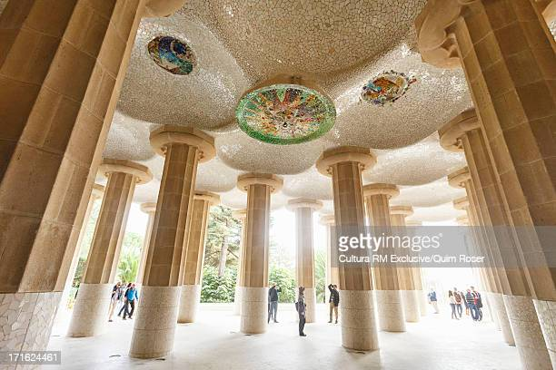 Tourists at Park Guell, Barcelona, Spain