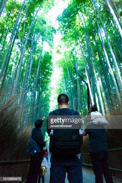 Tourists at Sagano Bamboo Forest in Kyoto, Japan