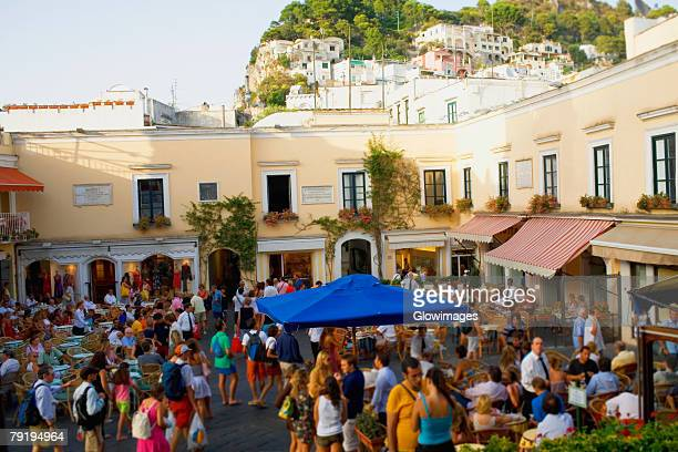 Tourists at sidewalk cafes, Capri, Campania, Italy
