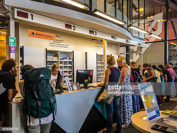 Tourists at Stockholm Visitor's Center, Sweden