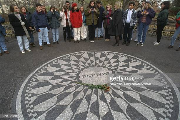 Tourists at Strawberry Fields in Central Park