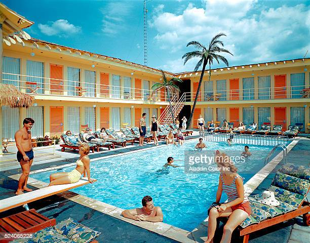 Tourists at Tahiti Motel Swimming Pool in Wildwood New Jersey