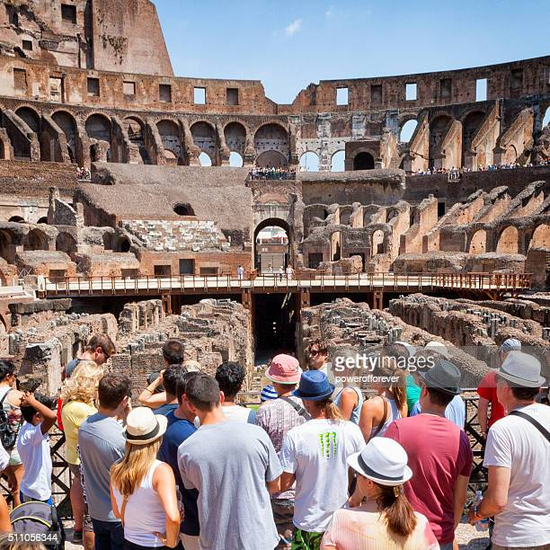 Tourists at The Colosseum in Rome, Italy