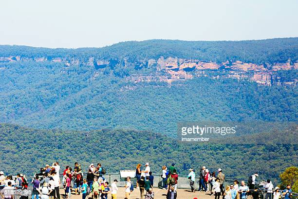 Tourists at The Echo point lookout in Bue Mountains Australia