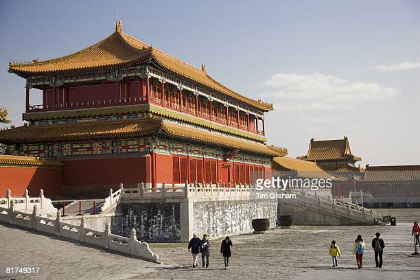 Tourists at the Emperor's Warehouse in the Forbidden City Beijing China