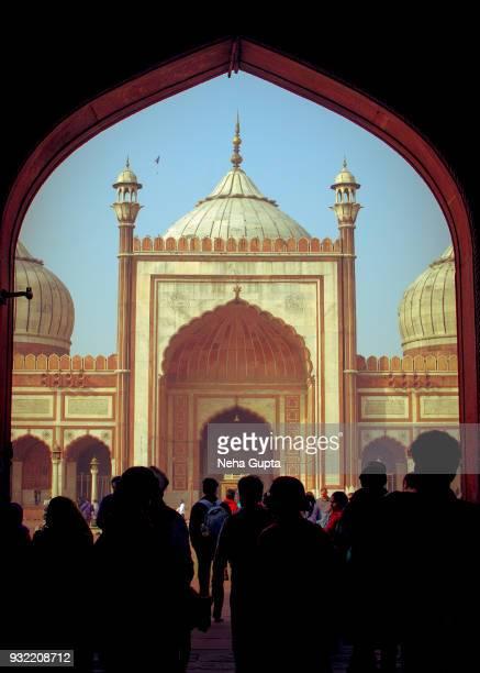 Tourists at the Jama Masjid, New Delhi, India