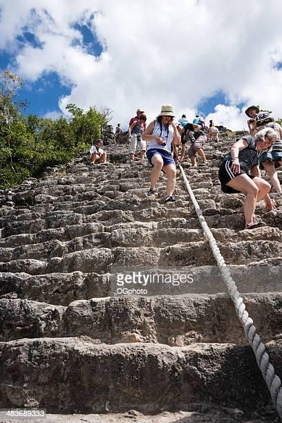 Tourists at the Mayan pyramid at Coba -XXXL