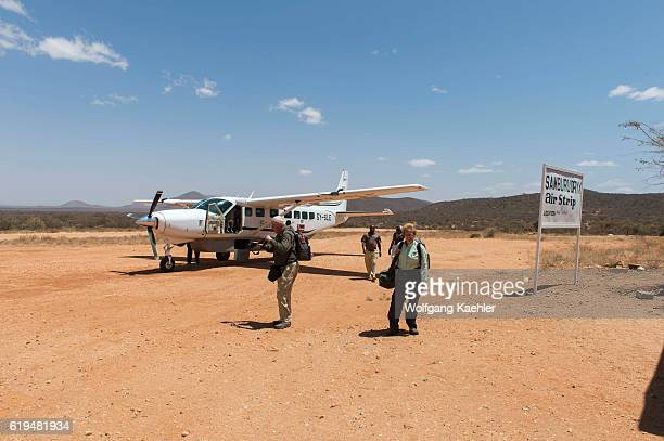 Tourists at the Oryx airstrip in the Samburu National Reserve in Kenya